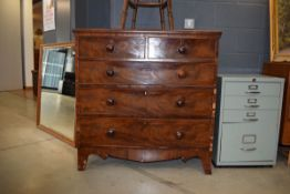 5174 19th Century mahogany and strung chest of 2 short and 3 long graduated drawers
