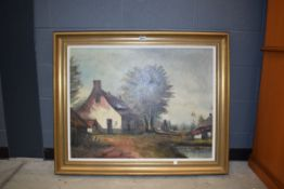 (8) Modern oil on canvas depicting farmstead Surface scratches