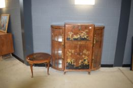 Early 20th Century walnut and chinoiserie decorated bow front cocktail cabinet and matching side