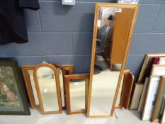 5 pine, teak and other wooden framed mirrors
