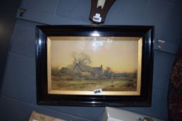 Framed and glazed print of thatched cottage by Stannard