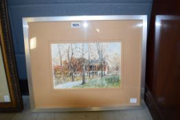 Framed and glazed watercolour of townscape by Terry Newton Brown