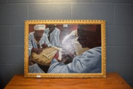 Late 20th Century oil on canvas of domino match, signed T. Barrett