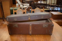Canvas and wooden bound cabin trunk Condition poor