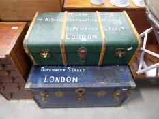 Blue metal banded flat top cabin trunk and similar green and wooden banded trunk In need of