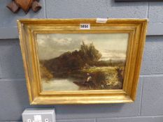 Oil on board of gentleman fishing, signed S. Constable Would benefit from a clean and new frame