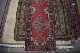 (15) Pale pink runner carpet with blue floral motifs and border, approx 80 x 245cm