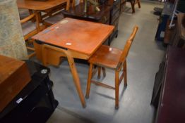 Bentwood child's desk and matching metamorphic chair/ stool with square plywood box