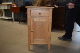5091 Oak pot cupboard with single drawer and door