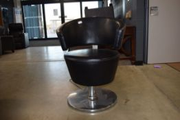 Black faux leather and chrome swivel chair Some wear, hydraulic action not working