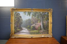 Late 20th Century oil on canvas of woodland scene, signed H. Barnes
