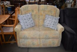 5409 Fabric upholstered 2 seater sofa and pair of grey scatter cushions
