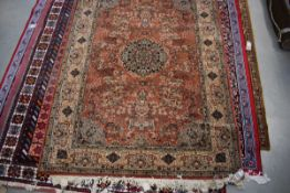 (25) Taj Mahal Prado wool carpet with pale orange ground and floral decoration approx. 170 x 230cm