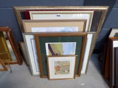 Stack of various pictures and prints incl. Russell Flint print, Richard Acerman examples, picture