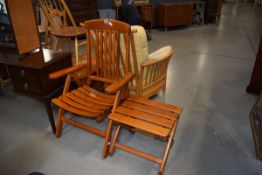 Herlag folding teak garden chair and matching stool Good condition