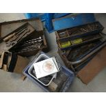 2 metal toolboxes containing a small quantity of tap dies, spanners, etc