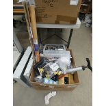 Box containing various items to include locks, screw boxes, bike pump, waterproof kits, door bars,