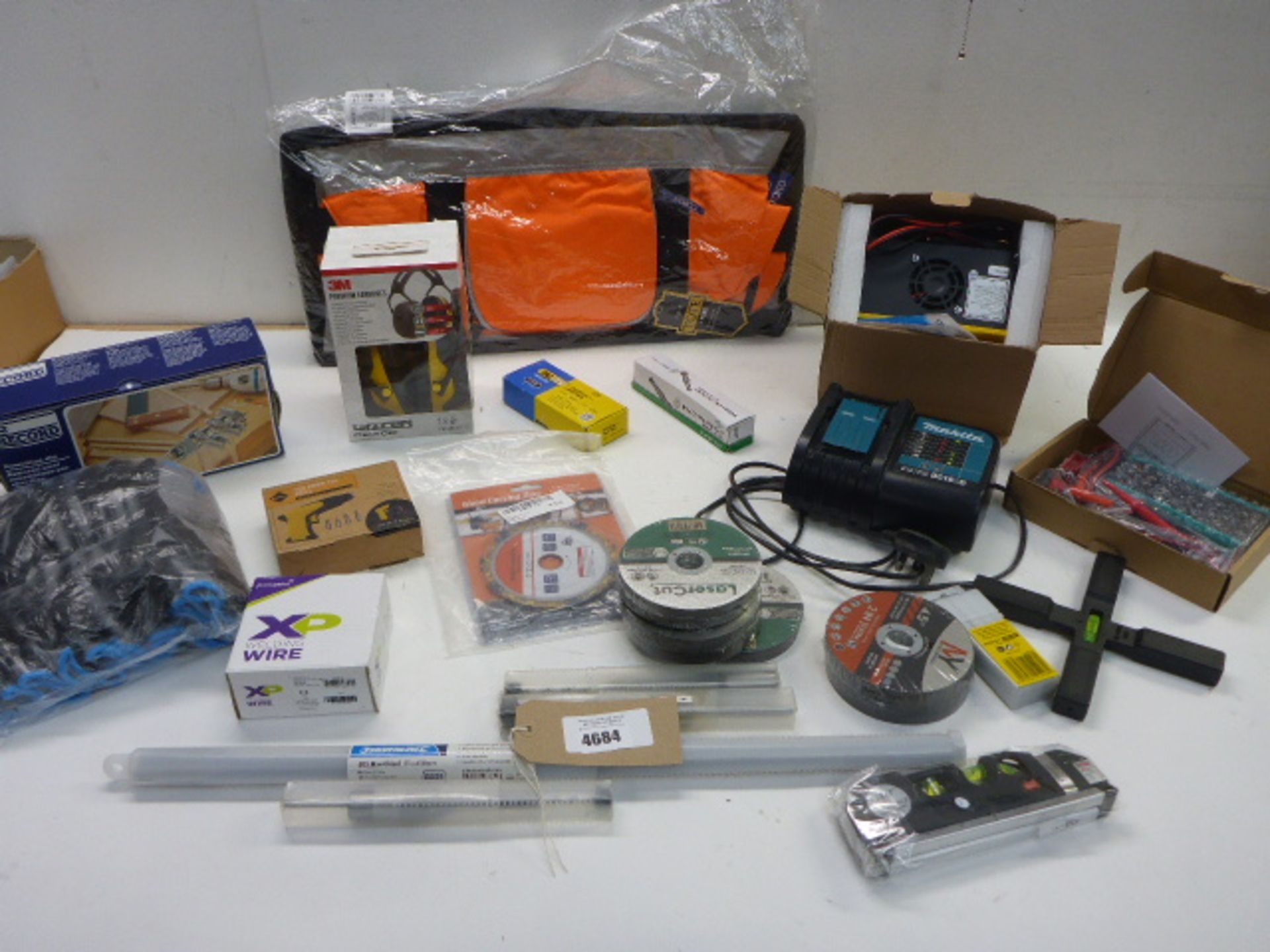 Makita battery charger, Smart pulse charger, multimeter, Dowelling jig, chisel, drill bits,