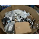 Large pallet box of assorted lights incl. wall lights, ceiling lights, party lights etc.