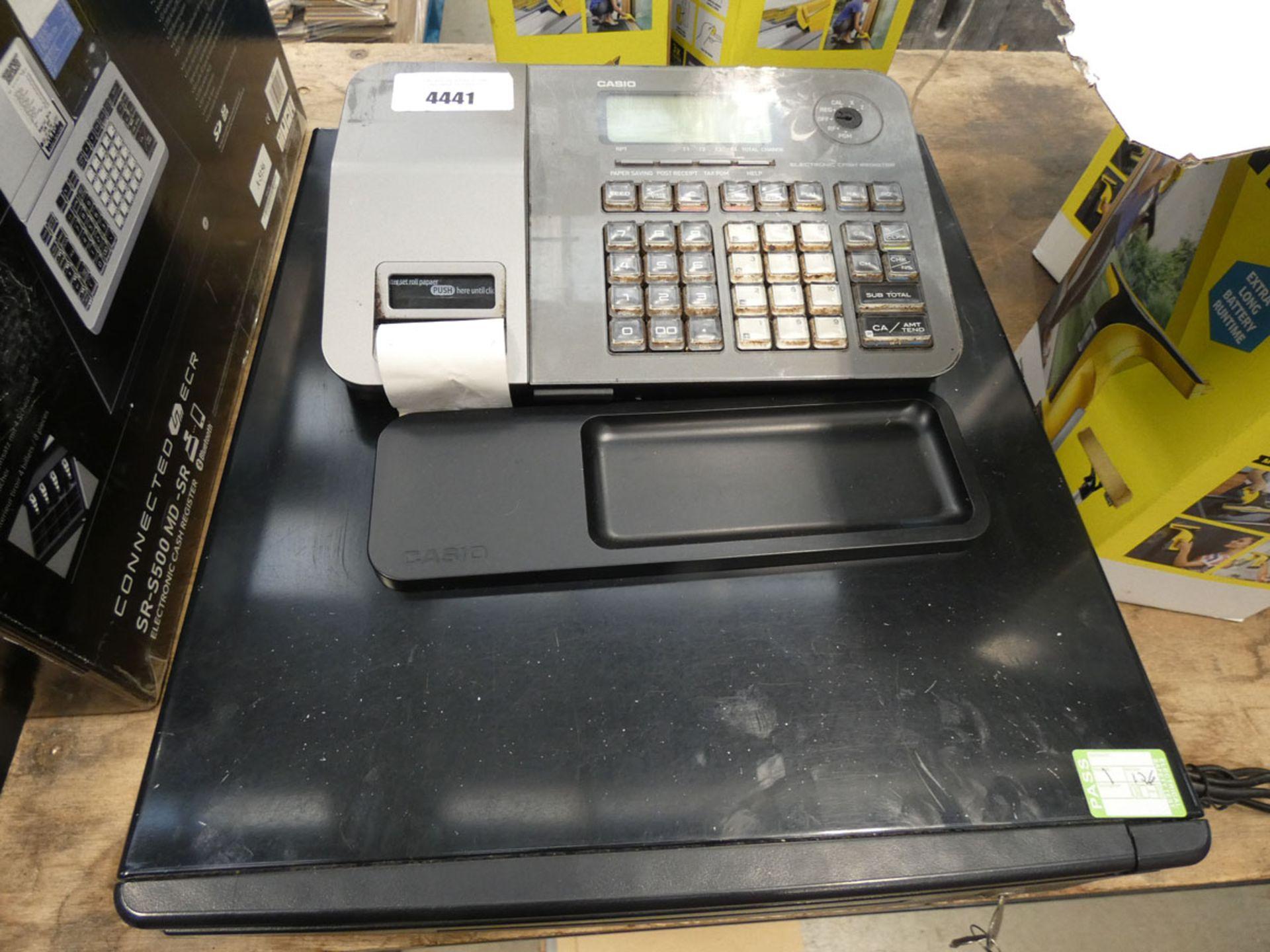 Unboxed Casio cash register Item lights us and has keys. Item is quite worn.