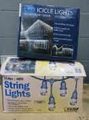 Box of string lights and LED icicle lights