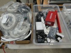Box of power supplies, box of flat cables, angle cables, and Bullet security camera