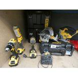 Dewalt tool kit consisting of drill, impact driver, torch, circular saw, jigsaw, 3 batteries and