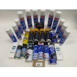 Bag containing de-icer, valve intake cleaner, air con sanitiser and other car products