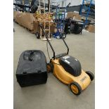Small yellow electric mower, no grass box