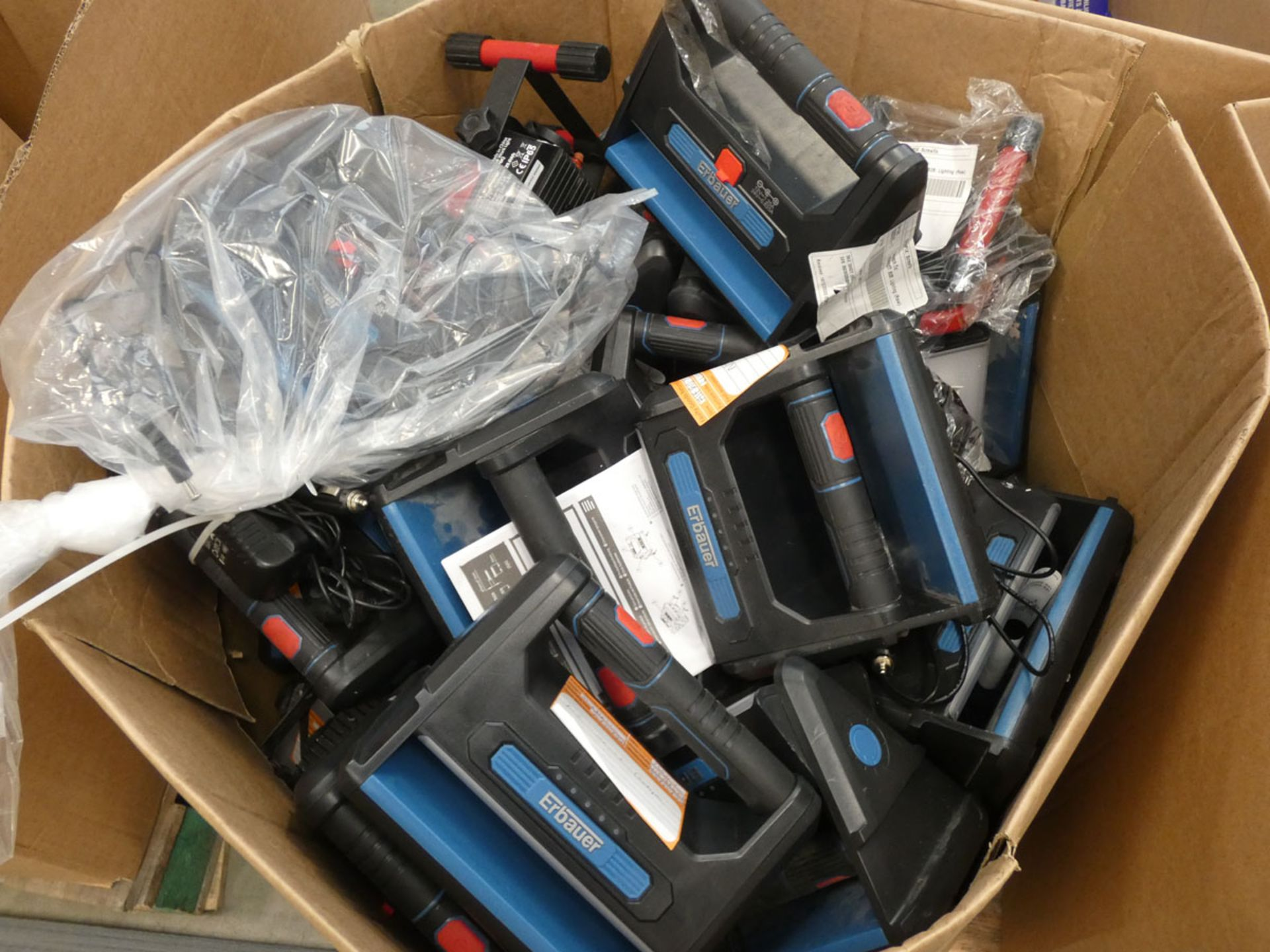 Box of Erbauer rechargeable lights