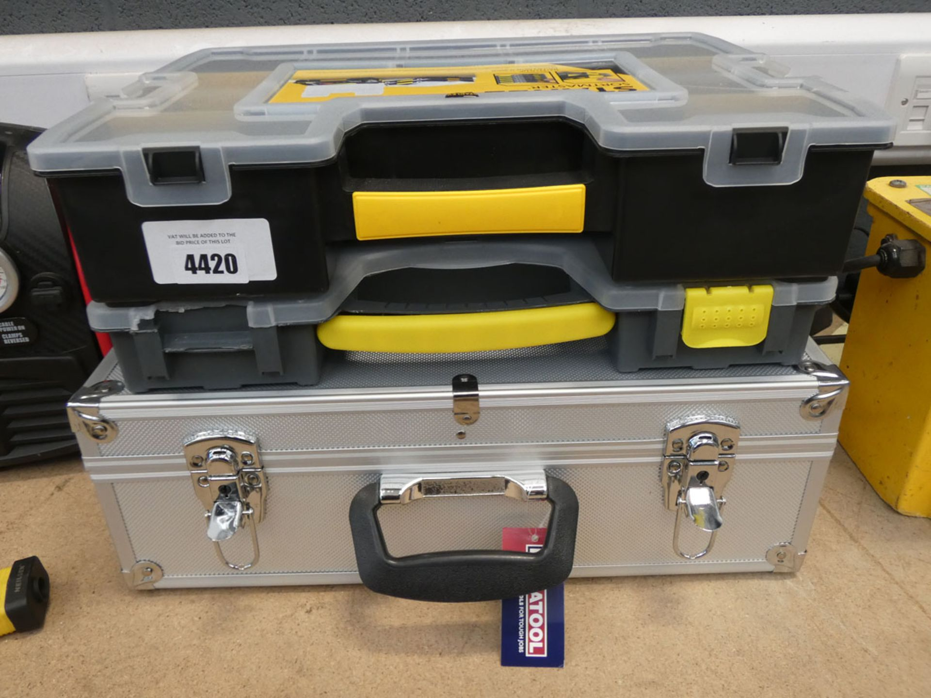 1 metal and 2 plastic toolcases