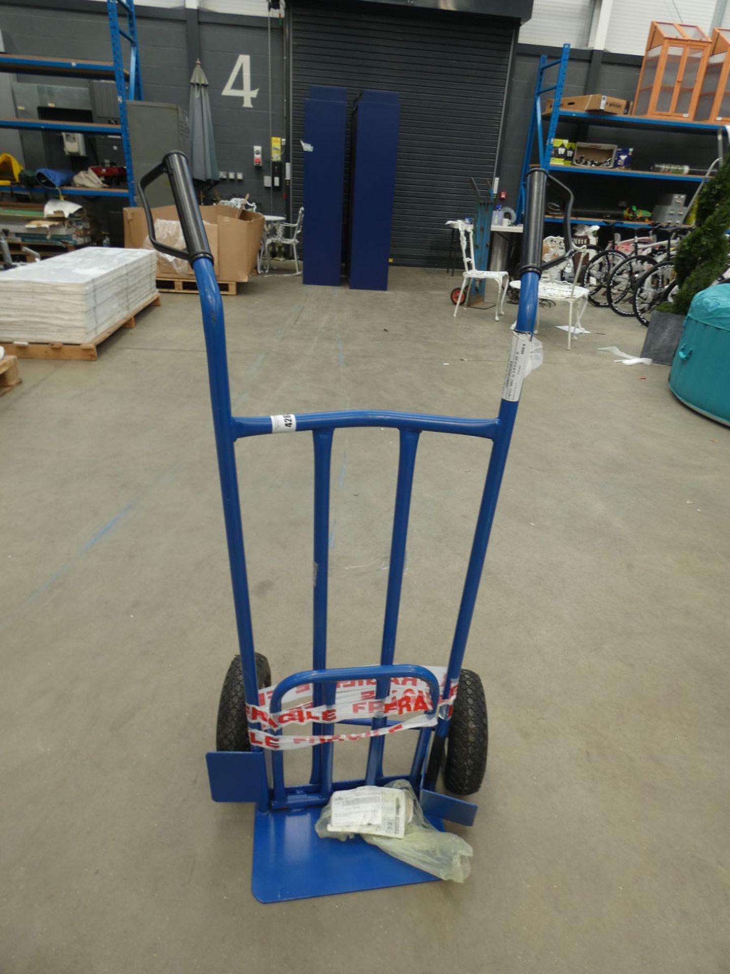Blue 2 wheel sack truck (bent axle)