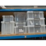 8 plastic storage boxes