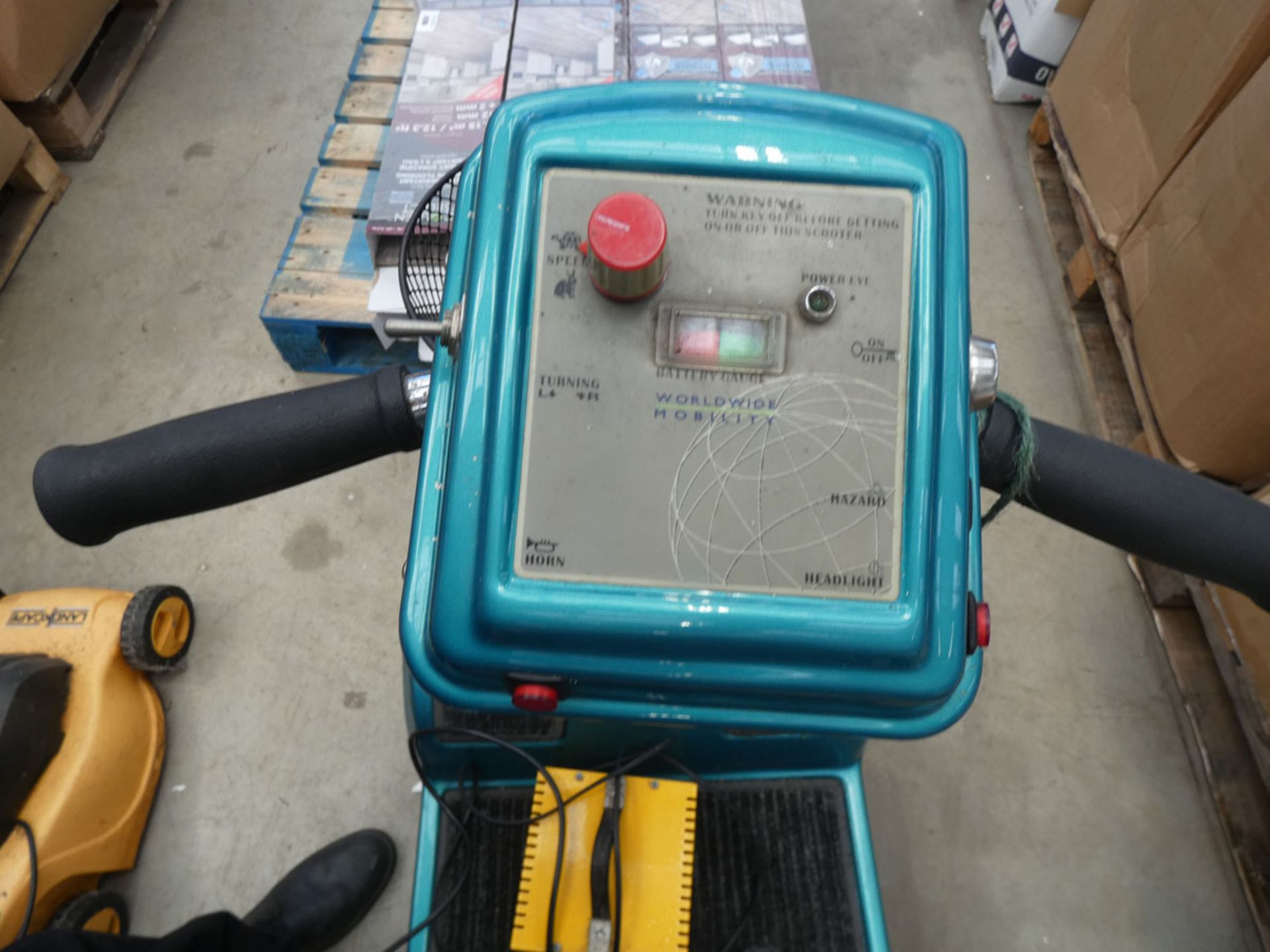 Turquoise mobility scooter with key and charger - Image 2 of 4