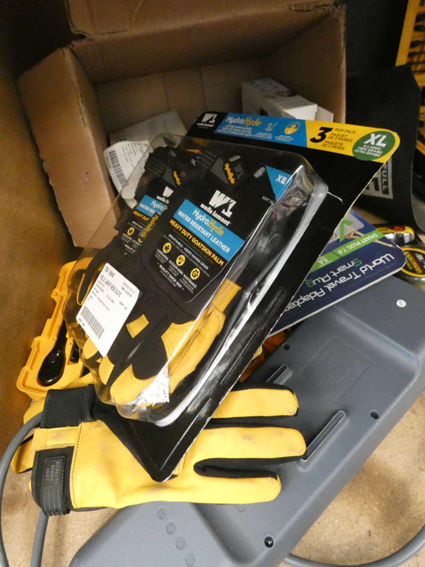 Box containing work gloves, extension cable, small DeWalt socket set, Stanley FatMax tape measure - Image 2 of 2