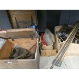 2 wooden toolboxes containing a quantity of tools, taps, drain rods, saws, jacks, etc