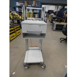 4337 Cream metal trolley with drawer on stand