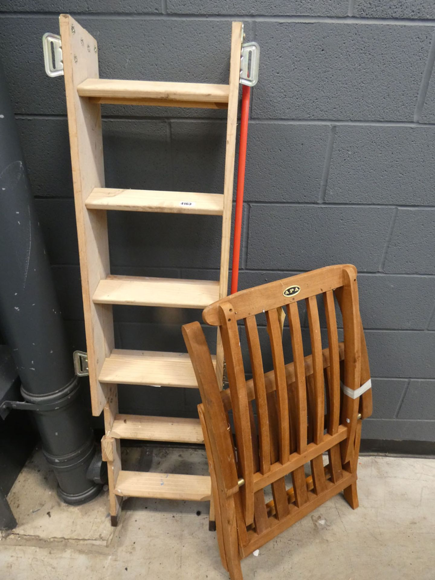 Wooden loft ladder (no hatch) and wooden fold up chair