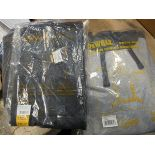 2 sets of DeWalt work trousers and a hooded sweat shirt