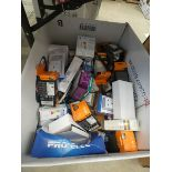 Box of assorted bulbs and sockets