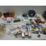 Anvil, plane, torch, lantern cable, surge protector, hinges, staples, chainsaw chain etc