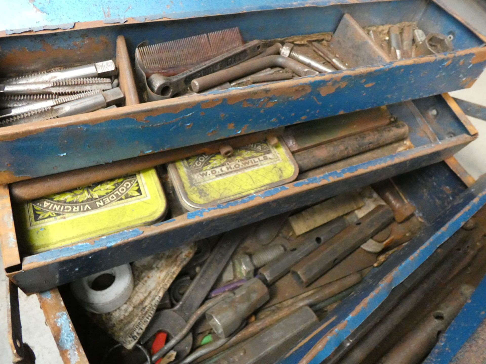 2 metal toolboxes containing a small quantity of tap dies, spanners, etc - Image 2 of 3