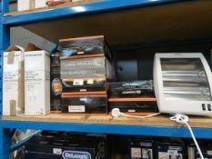 8 boxed quartz heaters, 1 unboxed quartz heater and 2 small oil filled radiators