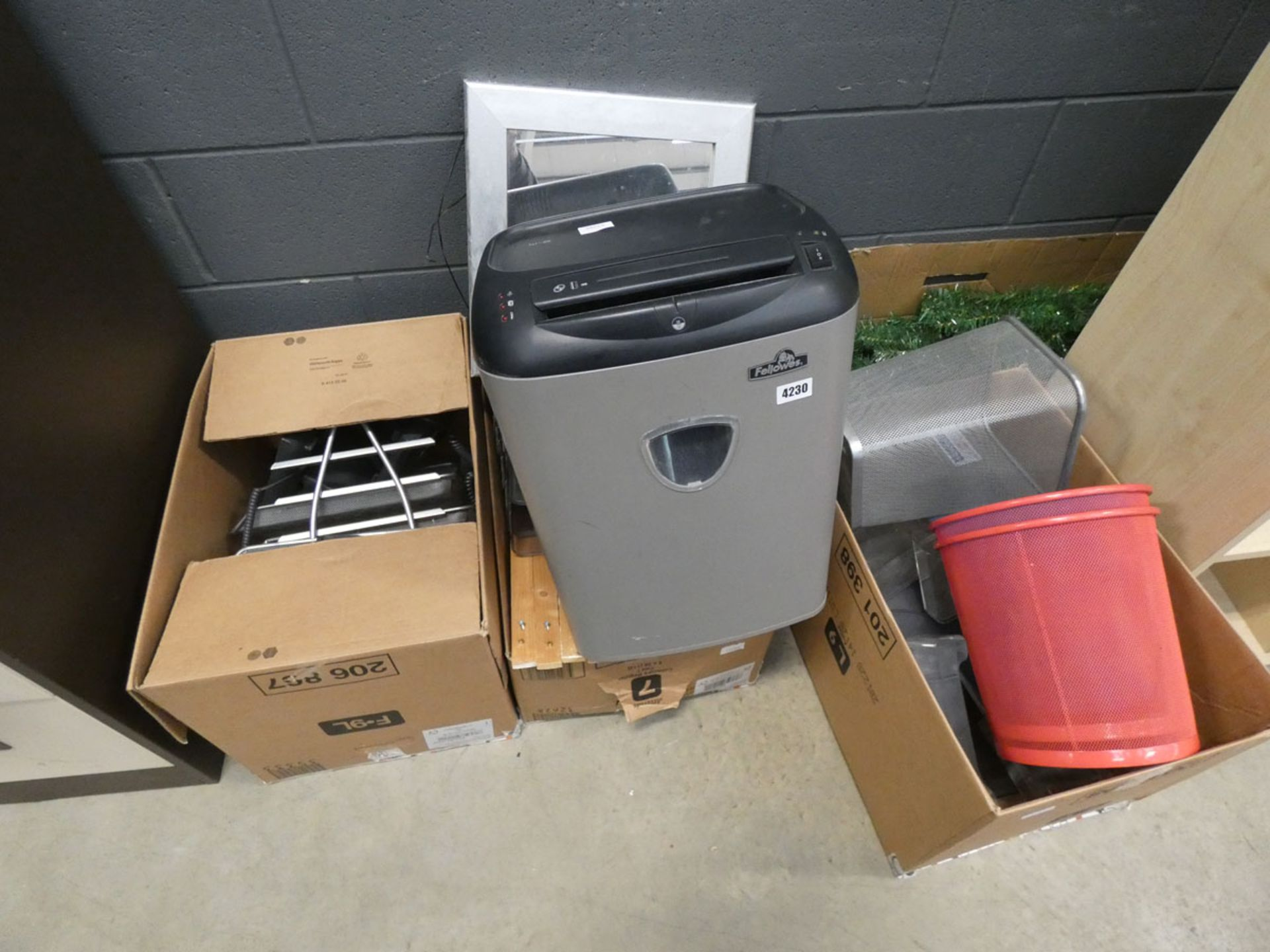 Assorted items to include paper shredder, file tray, Christmas tree, waste bins, and mirror