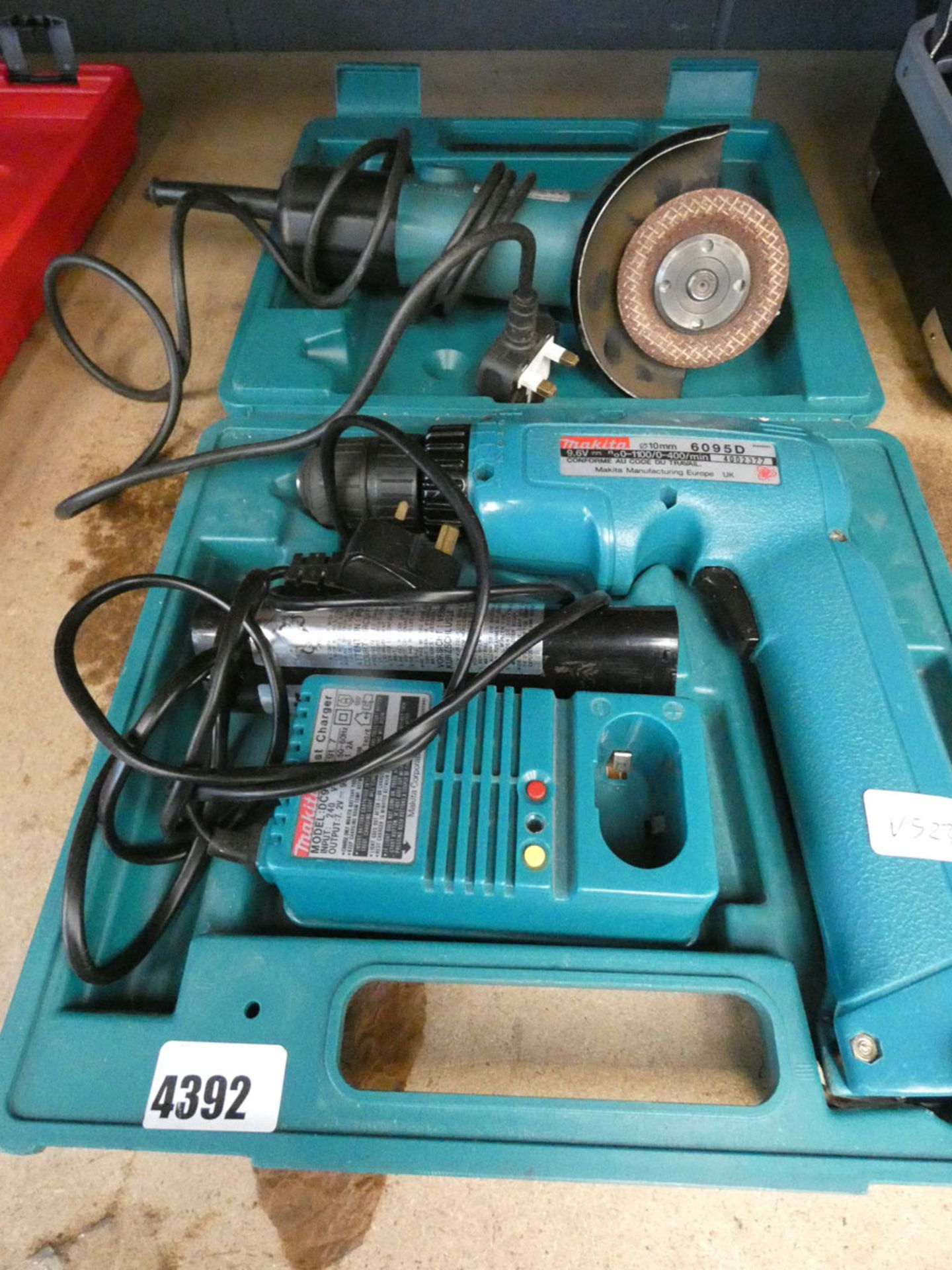 4663 - Makita battery drill with 2 batteries and charger and a Makita angle grinder