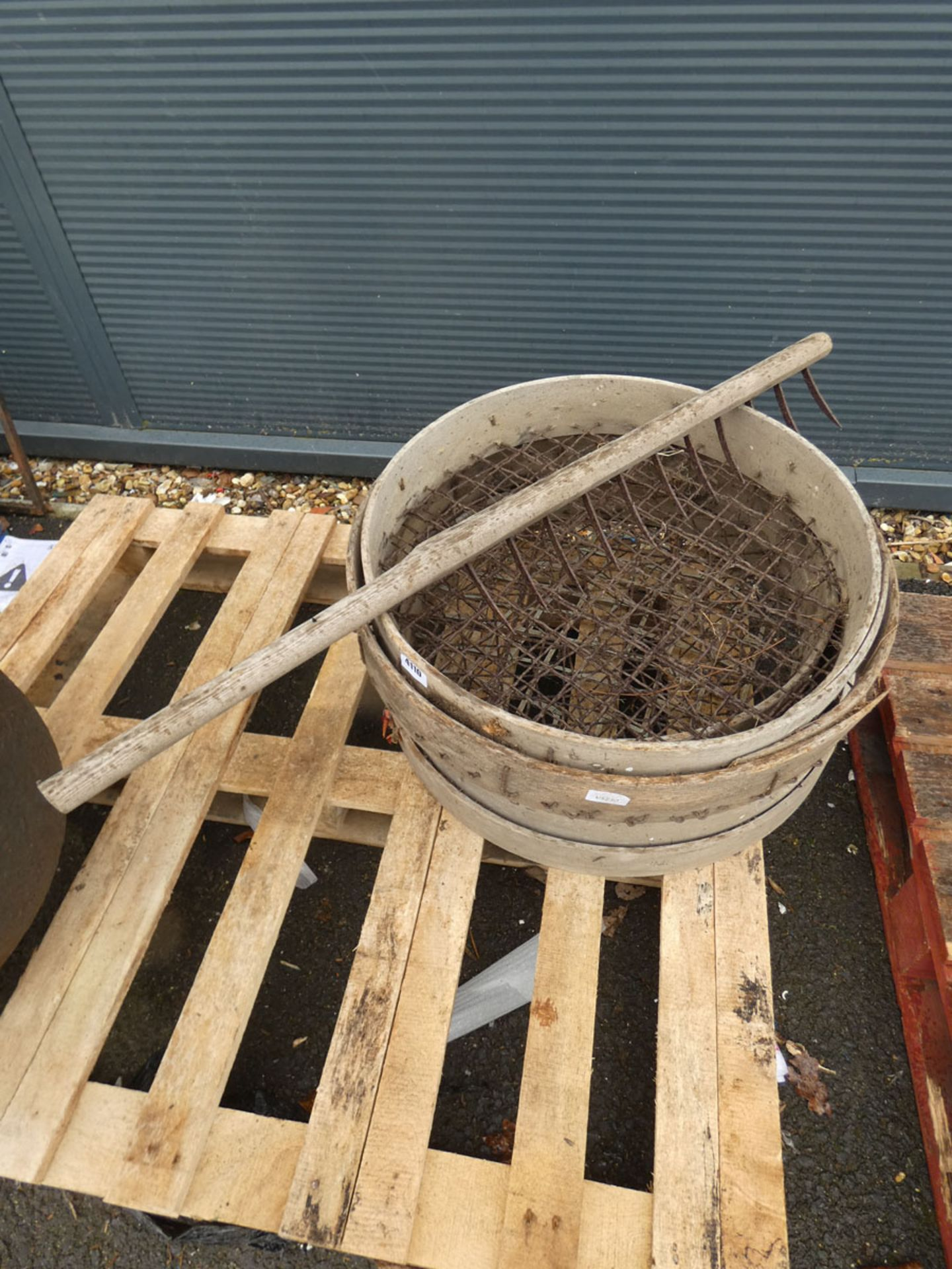 Large vintage sieves and a vintage scraper