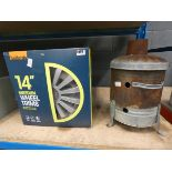 Set of 14'' boxed wheel trims and a small garden burner