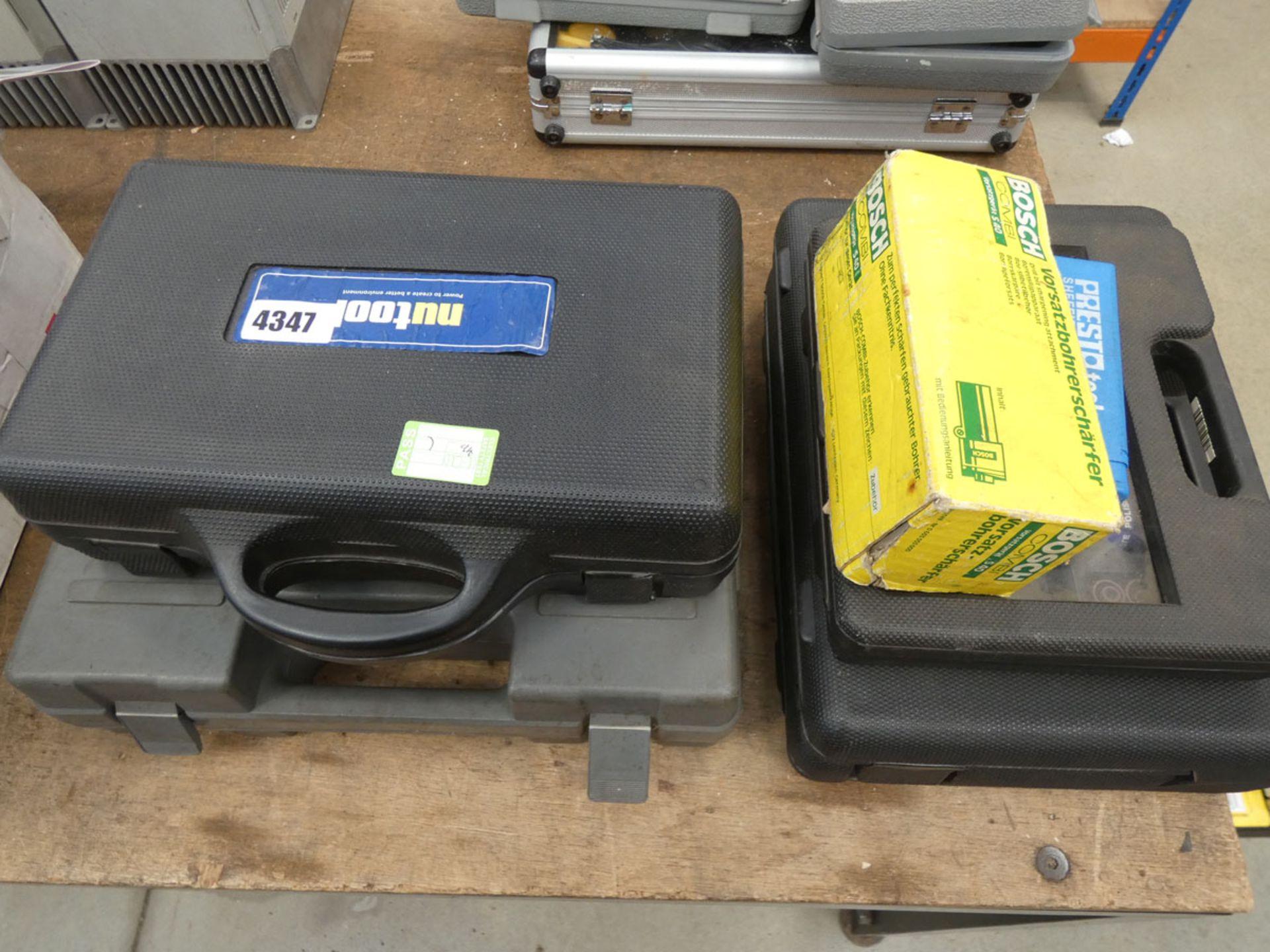 Newtool screwdriver set, Bosch drill, mini grinding heads and a drill bit set