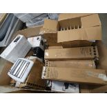Large pallet box containing approx. 10-12 oil filled radiators and electric heater