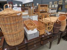 Collection of wicker baskets and plastic trays Condition is good